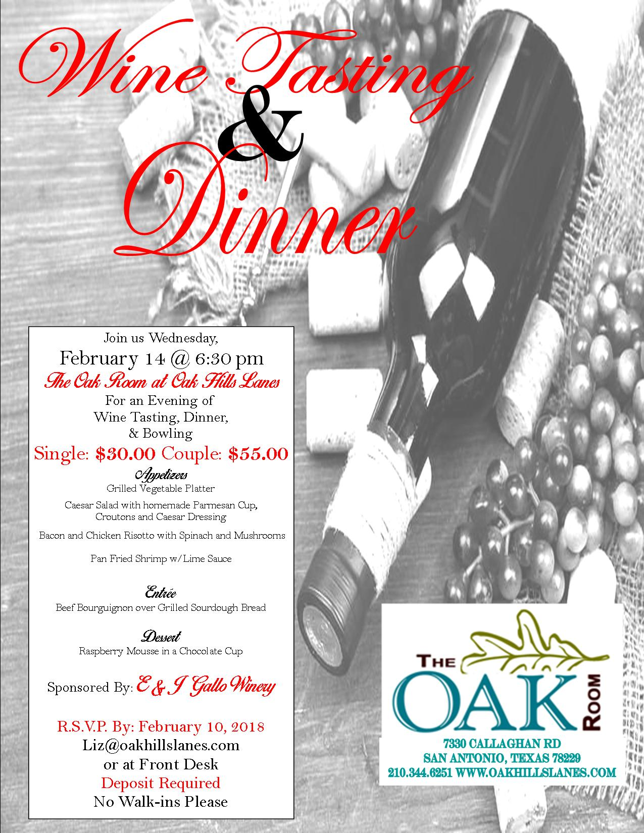 Wine Tasting And Dinner Oak Hills Lanes